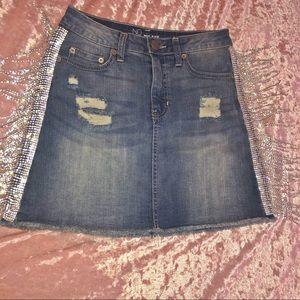 Custom Chandelier Denim Skirt